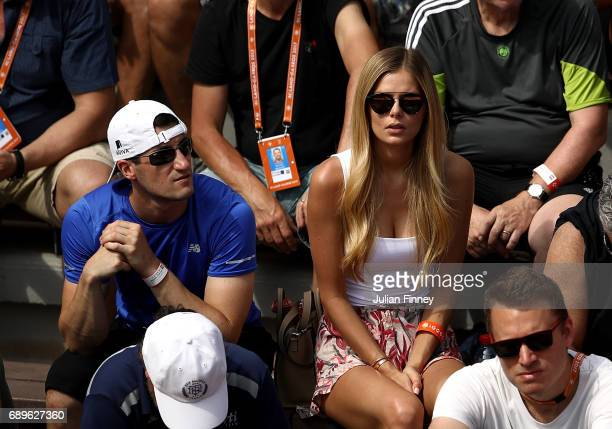 Girlfriend of Milos Raonic Danielle Knudson looks on day two of the 2017 French Open at Roland Garros on May 29 2017 in Paris France