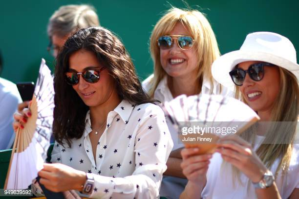Girlfriend of Nadal Xisca Perello with Nadal's mother Ana Maria Parera and sister Maria Isabel Nadal as they watch Rafael Nadal of Spain play Grigor...