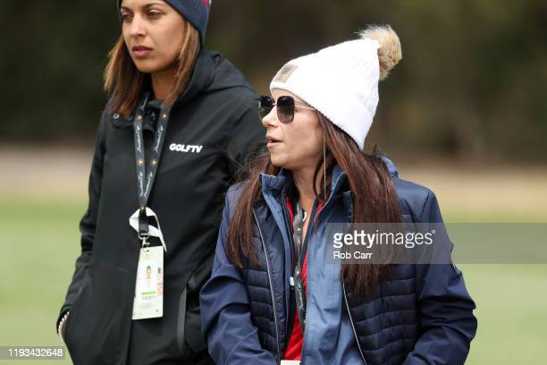 Girlfriend of Playing Captain Tiger Woods of the United States team, Erica Herman looks on during Thursday four-ball matches on day one of the 2019...