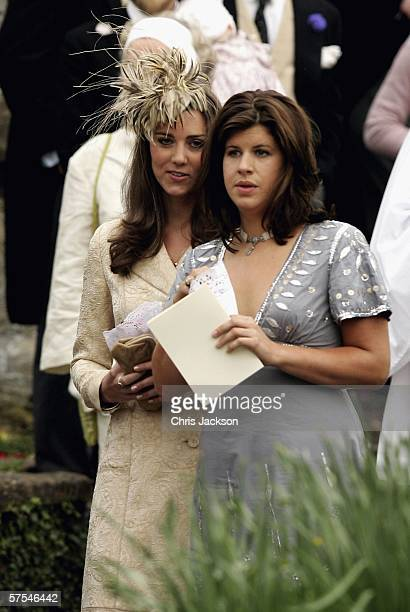 Girlfriend of Prince William Kate Middleton and a guest leave Laura Parker Bowles wedding to Harry Lopes at St Cyriac's Church Lacock on May 6 2006...