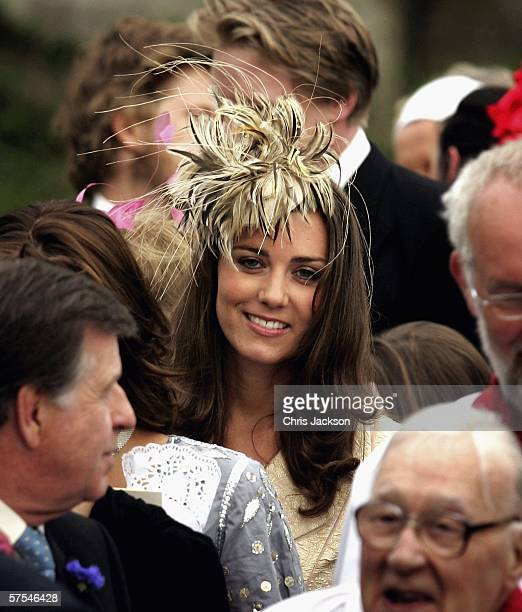 Girlfriend of Prince William Kate Middleton leaves Laura Parker Bowles' wedding to Harry Lopes at St Cyriac's Church Lacock on May 6 2006 in...