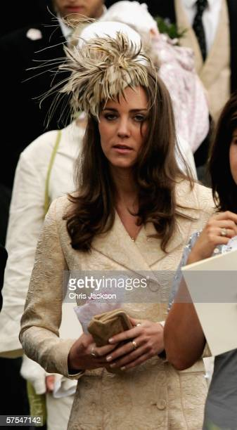 Girlfriend of Prince William Kate Middleton leaves Laura Parker Bowles wedding to Harry Lopes at St Cyriac's Church Lacock on May 6 2006 in Wiltshire...