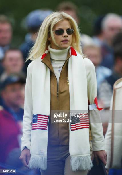 Girlfriend of Tiger Woods Elin Nordegren watches on the third hole during the morning foursome matches on the second day of the 34th Ryder Cup at the...