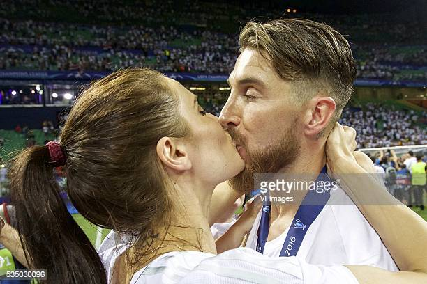 girlfriend Pilar Rubio Sergio Ramos of Real Madrid during the UEFA Champions League final match between Real Madrid and Atletico Madrid on May 28...
