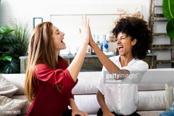 girlfriends celebrating their success, highfiving - high five bildbanksfoton och bilder