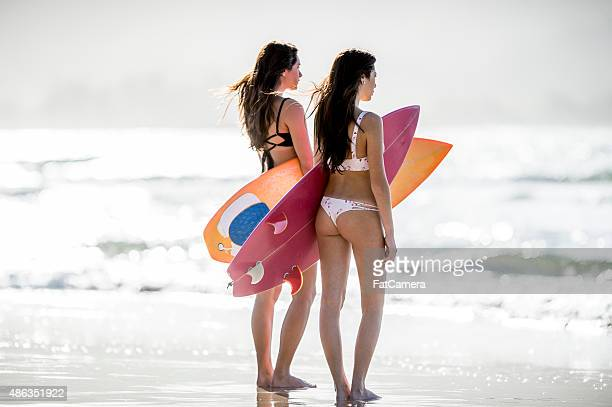 girlfriends checking the surf - beautiful polynesian women stock photos and pictures