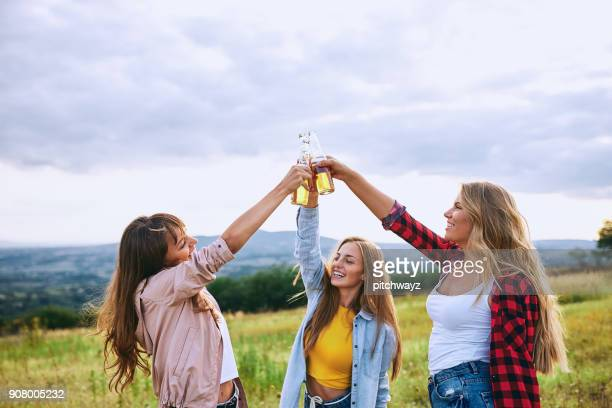 Girlfriends drinking alcohol.