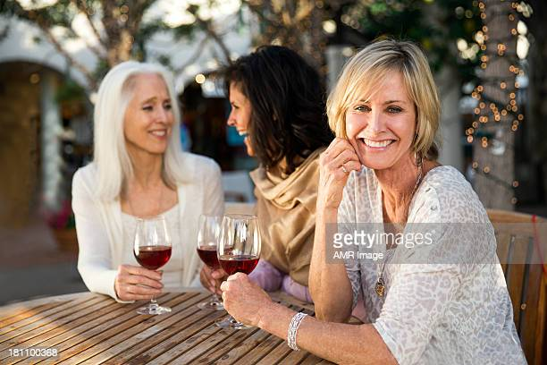 Girlfriends drinking wine