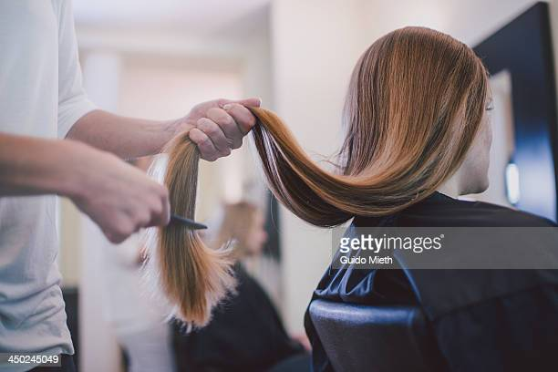 girlfriends getting new haircut. - long hair stock pictures, royalty-free photos & images