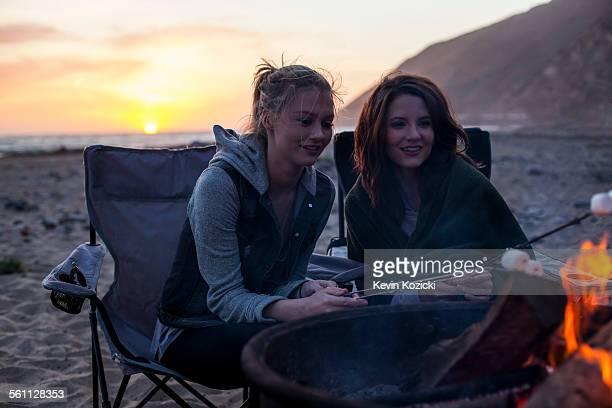 Girlfriends having barbecue on beach, Malibu, California, USA