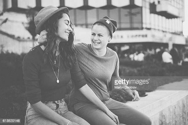 Girlfriends having fun in the city