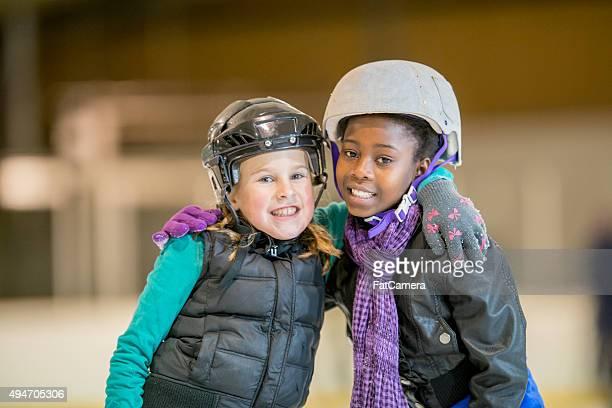 Girlfriends Ice Skating at the Rink