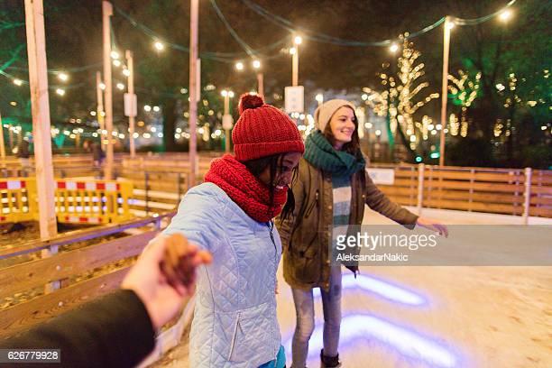 Girlfriends Ice-skating
