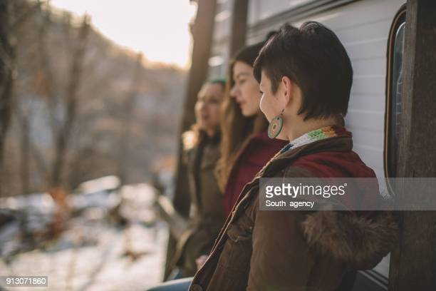 Girlfriends outdoors on winter day