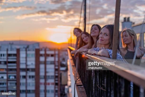 Girlfriends portrait at sunset