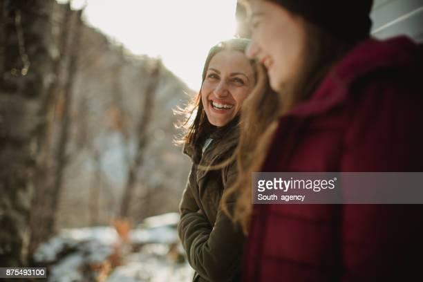 Girlfriends smiling