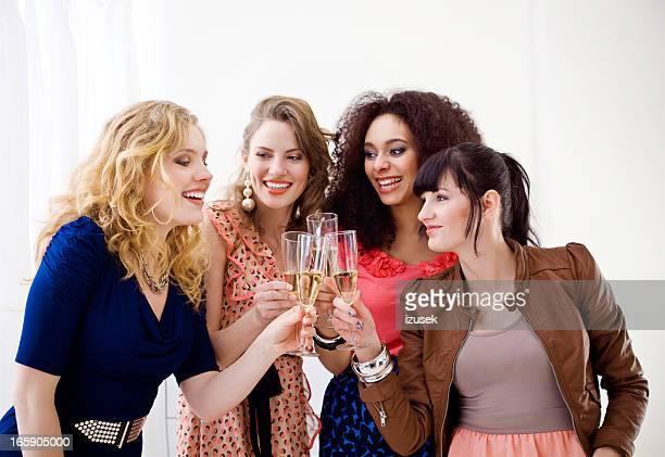 Girlfriends toasting