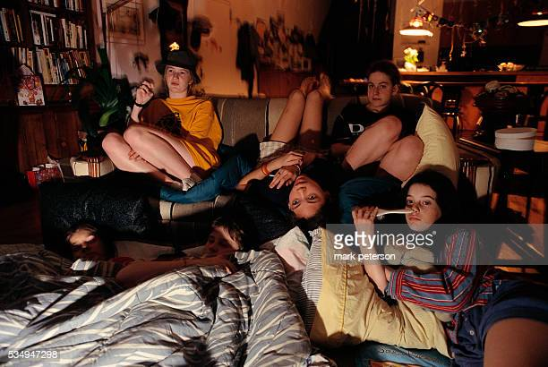 Girlfriends Watching Television During Slumber Party