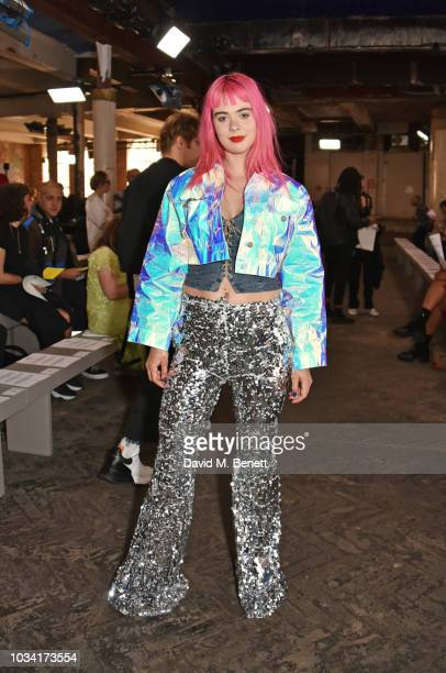 Girli attends the Fashion East front row during London Fashion Week September 2018 at the My Beautiful City Show Space on September 16 2018 in London...