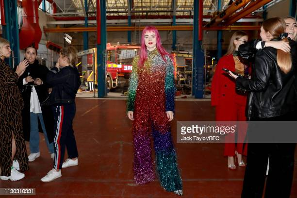 Girli attends the Fashion East show during London Fashion Week February 2019 on February 17 2019 in London England