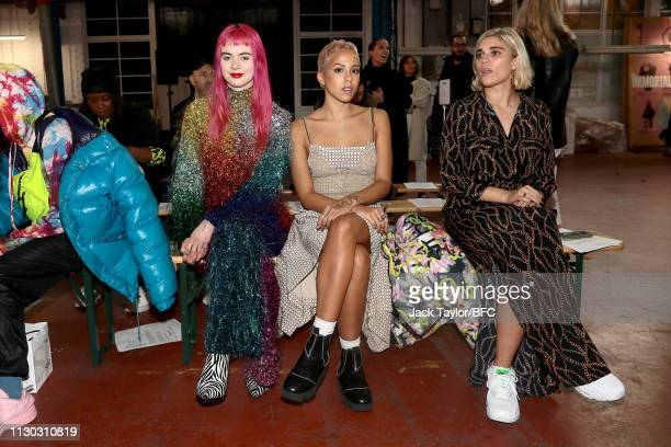 Girli Poppy Ajudha and Tiger Lilly Taylor attend the Fashion East show during London Fashion Week February 2019 on February 17 2019 in London England