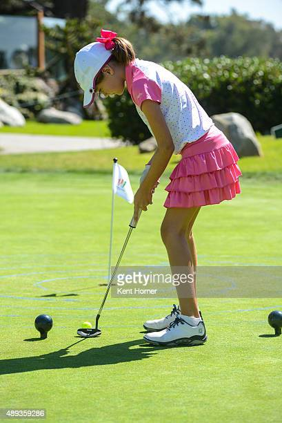 Girls 1011 age group Paige Hammarstrom putts at The Drive Chip and Putt Regional Championships at Torrey Pines Golf Course on September 19 2015 in La...