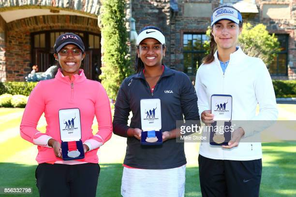 Girls 1415 Overall winners Tiya Chowdary Megha Ganne and Caroline Schernecker during the Drive Chip and Putt Championship at Winged Foot Golf Club on...