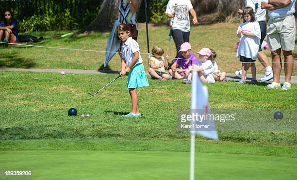 Girls 79 age group Ava Capeda chips at The Drive Chip and Putt Regional Championships at Torrey Pines Golf Course on September 19 2015 in La Jolla...