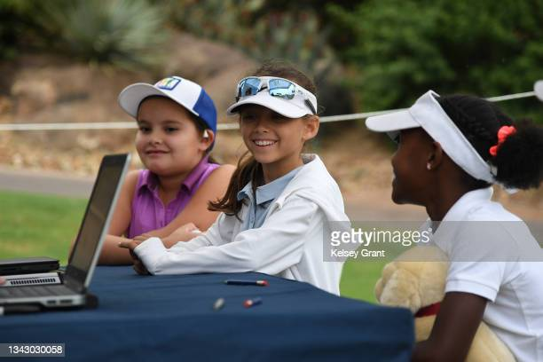 Girls 7-9 competitors in the scoring area during the 2021 Drive, Chip and Putt Regional Qualifier at TPC Scottsdale on September 26, 2021 in...