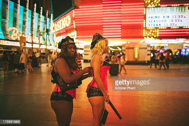 Girls adjusting at Fremont Street Experience
