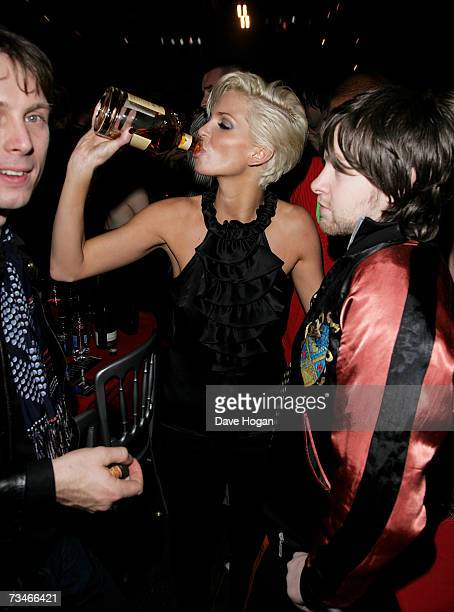 Girls Aloud member Sarah Harding and Franz Ferdinand frontman Alex Kapranos attend the party following the Shockwaves NME awards at the Hammersmith...