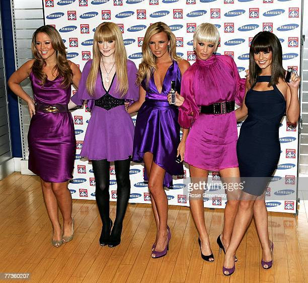 Girls Aloud members Nicola Roberts Nadine Coyle Sarah Harding and Cheryl Cole arrive at a photocall to launch the 'Samsung F210 Purple' mobile phone...