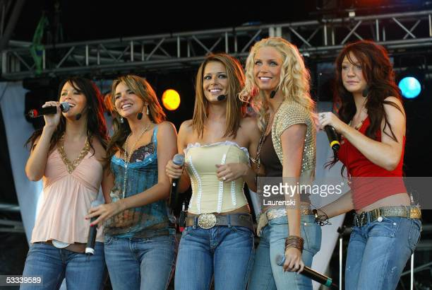 Girls Aloud perform on stage at Party In The Park Carlisle at Bitts Park on August 7 2005 in Carlisle England