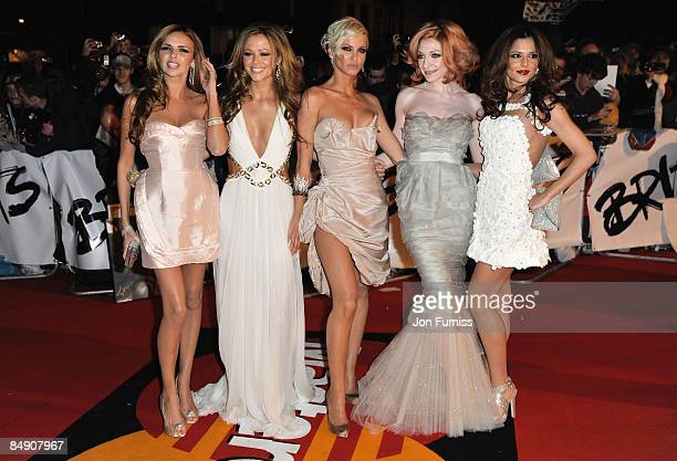 Girls Aloud with Nadine Coyle Kimberley Walsh Sarah Harding Nicola Roberts and Cheryl Cole arrive for the Brit Awards 2009 at Earls Court on February...