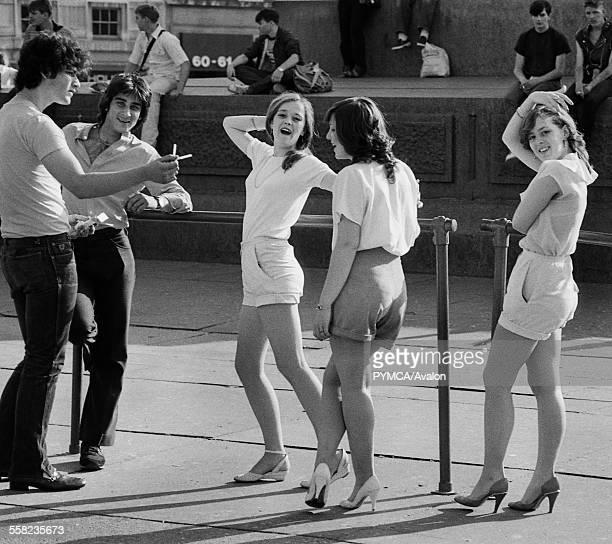 Girls and Boys in Trafalgar Square London May 1983