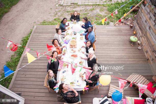 Girls and women at a birthday dinner party