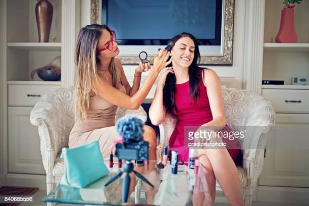 girls are vlogging about make up - very young webcam girls stock photos and pictures