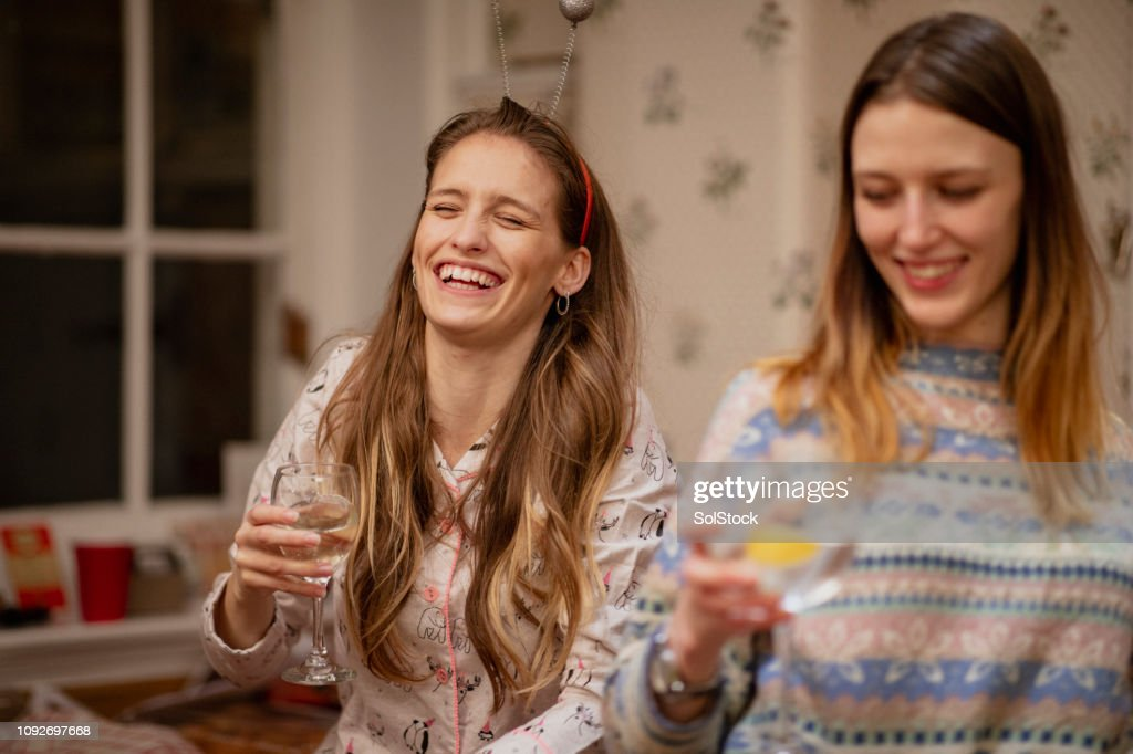 Girls at a Christmas House Party : Stock Photo