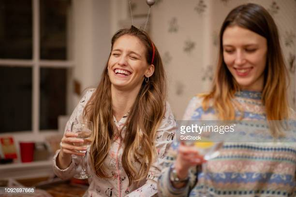 girls at a christmas house party - drunk woman stock pictures, royalty-free photos & images