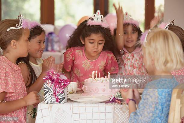 girls at birthday party - princess stock pictures, royalty-free photos & images