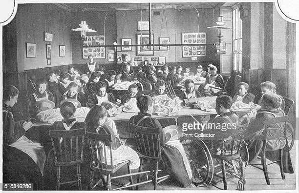 Girls at needlework Halliwick School For Girls Marylebone Road London circa 1903 Halliwick School for Girls established in 1851 by Miss Caroline...
