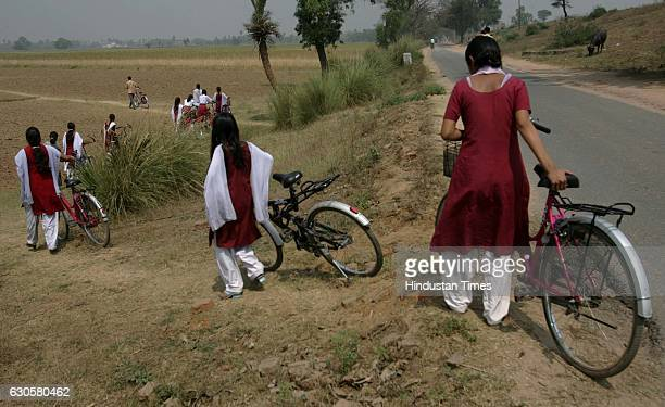Girls at Taramani Bhagwanshaw High School at Koilwar on March 17 2009 in Aara India The government had introduced a cycle scheme for girls in class 9...