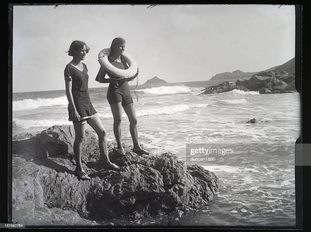 Girls at the Seaside - Vintage Photograph : Stock Photo