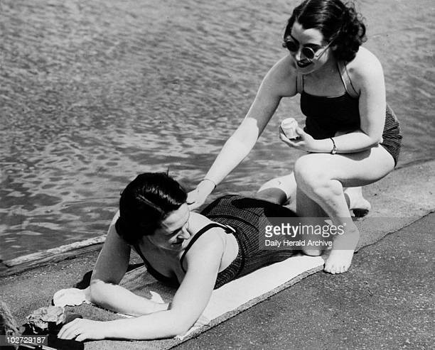 Girls at the Serpentine Lido Sunbathing 25 May 1937 'Girls at the Serpentine Lido London found it hot enough to start cultivating the fashionable...