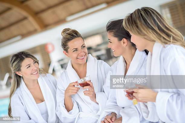 girls at the spa - ceremonial robe stock pictures, royalty-free photos & images