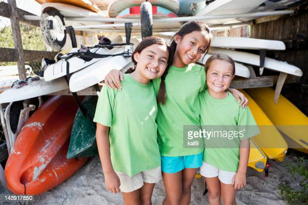 Girls at water sports equipment center