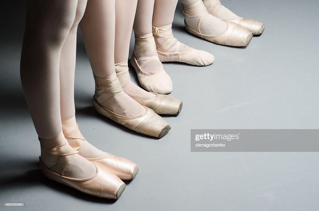 girls ballet training studio lightning pointe shoes : Stock Photo