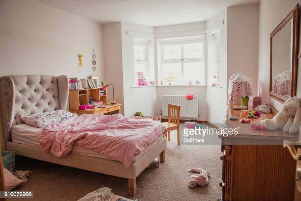 girl's bedroom - messy stock photos and pictures