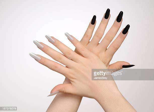 Girl's Black and White Fingernails