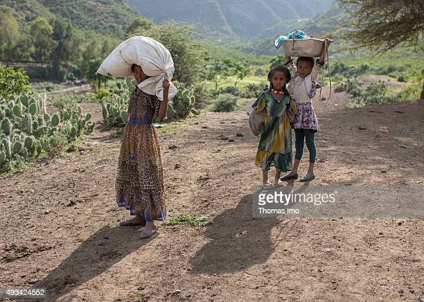 Girls carrying goods on October 13 2015 in Mahoni Ethiopia